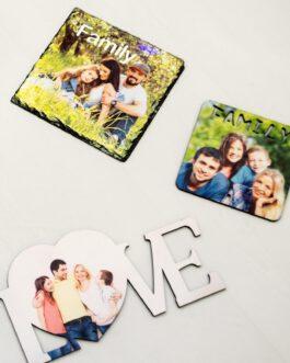 עץ MDF עם כיתוב FAMILY עם תמונה אישית לפי בחירתכם