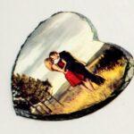 אבן בזלת לב קטן/גדול עם תמונה אישית לפי בחירתכם